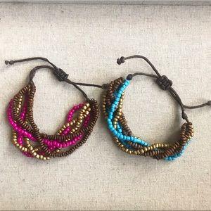 Beaded Bracelets Adjustable Seed Bead Gold Blue